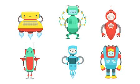 Set of cartoon multi-colored robots. Vector illustration.