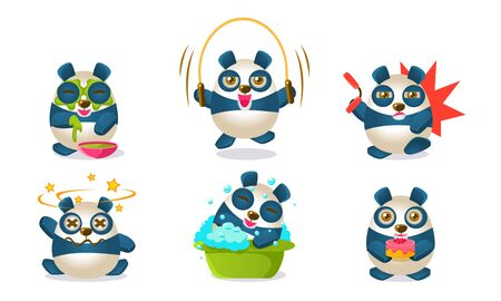 Cute Pandas Characters Set, Adorable Chinese Humanized Animals in Different Situations Vector Illustration