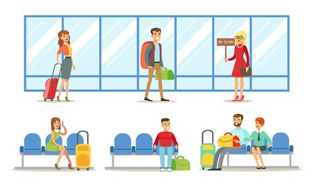 Traveling  People in Airport Set, Passengers Waiting for Flight at Terminal Vector Illustration