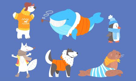 Collection of Polar Animals in Warm Clothes, Polar Bear, Wolf, Whale, Penguin, Dog, Husky, Fur Seal Vector Illustration