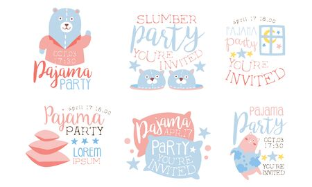 Pajama Party Invitation Card Templates Set, Slumber Party Pink and Blue Labels Vector Illustration