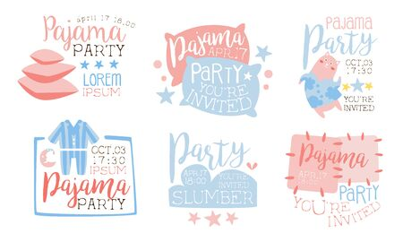 Pajama Party Invitation Card Templates Set, Slumber Party Cute Pink and Blue Labels Vector Illustration