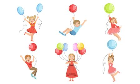 Set of images of boys and girls jumping and flying with balloons in their hands. Vector illustration. Ilustração