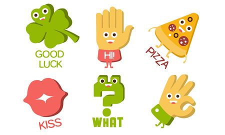 Words and Cute Cartoon Characters with Funny Faces, Good Luck, Hi, Pizza, Kiss, What, Ok, Sign Vector Illustration 向量圖像