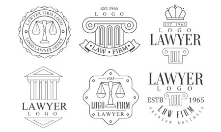 Lawyer Office Retro icon Set, Law Firm Premium Business Labels Vector Illustration Illusztráció