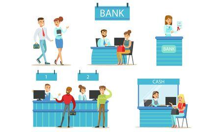 Set di gestori di banche e clienti, servizio bancario, persone in piedi presso l'ufficio della banca e operazioni finanziarie con illustrazione vettoriale di denaro