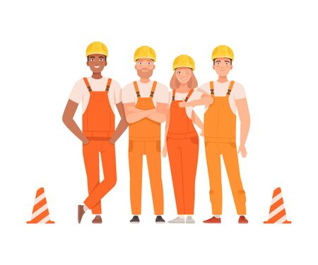 Team of road builders in orange overalls and helmets next to the striped cones. Vector illustration.