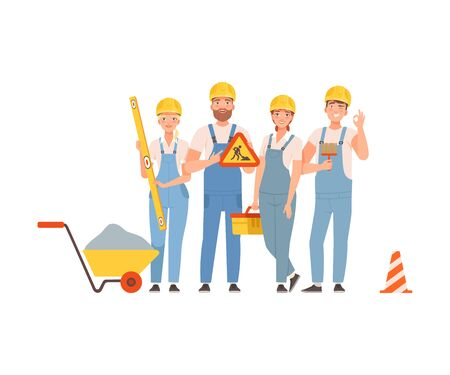 Team of road builders in blue overalls. Vector illustration.