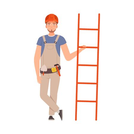 Young repairman with a beard in a gray overalls with tools on a belt holds an orange ladder. Vector illustration.