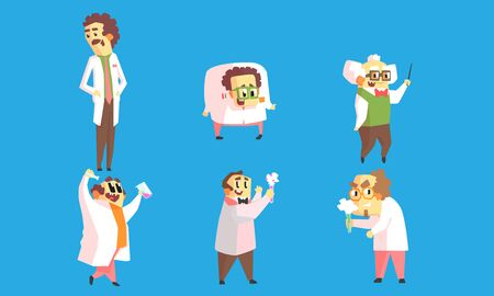 Set of images of cartoon crazy professors in white coats with test tubes in their hands. Vector illustration on a blue background.