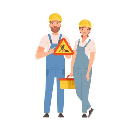 Man and woman builders in blue overalls. Vector illustration. Çizim
