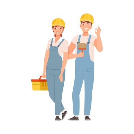 Pair of builders in blue overalls and white T-shirts. Woman holds a tool box. Man holds a brush. Vector illustration.  イラスト・ベクター素材