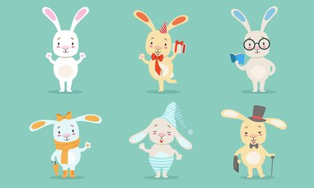 Cute Little Bunnies Characters Set, Adorable Rabbits in Different Situations Vector Illustration in Cartoon Style.