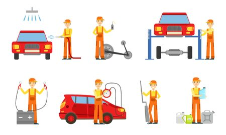 Car Service Set, Male Auto Mechanics in Uniform Repairing, Washing Cars and Testing Vehicles Vector Illustration