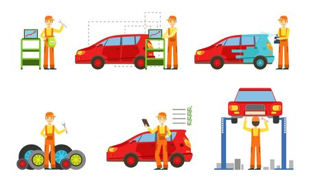 Car Service Set, Male Auto Mechanics in Uniform Repairing, Washing, Painting Cars and Testing Vehicles Vector Illustration