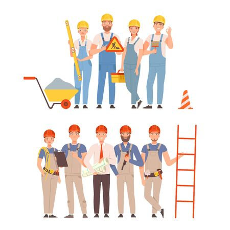 Two teams of builders in blue and gray overalls with tools. Vector illustration.  イラスト・ベクター素材