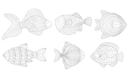 Set of fish in the form of antistress. Vector illustration.
