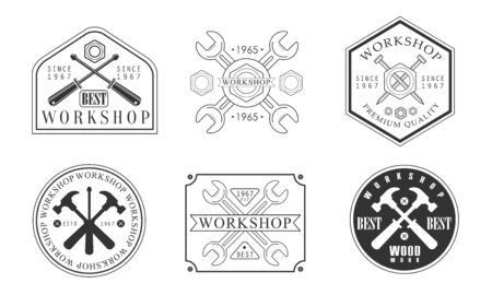 Set of icon for the workshop. Vector illustration.