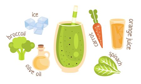 Recipe for a green vegetable smoothie. Vector illustration. Çizim