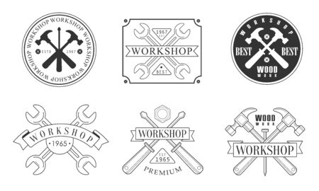 Set of black and white icon for the workshop. Vector illustration.