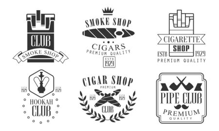 Set of icons for smoking and hookah club. Vector illustration.