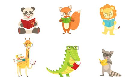 Different humanized animals read books. Vector illustration. 스톡 콘텐츠 - 131187012