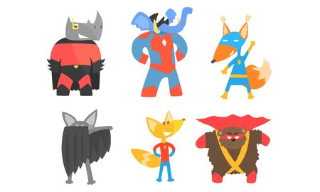 Cute animals in masks and cloaks of superheroes. Vector illustration. Illustration