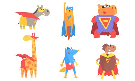 Cartoon animals in masks and cloaks of superheroes. Vector illustration. Illustration