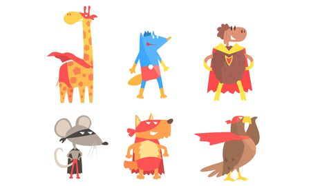Serious animals in masks and cloaks of superheroes. Vector illustration.
