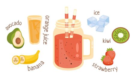 Jar with pink fruit cocktail. Vector illustration.