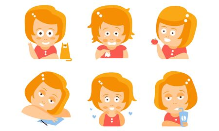 Cartoon red-haired girl in everyday activities. Vector illustration.