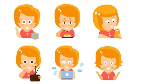 Cartoon red-haired girl with a letter, cat, radio and laptop. Vector illustration.  イラスト・ベクター素材
