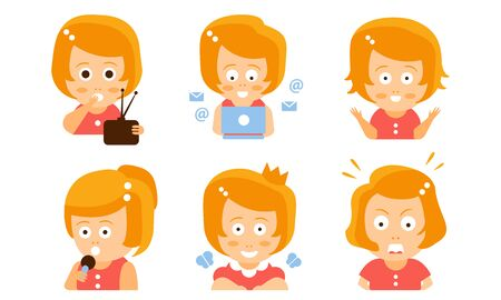 Cartoon red-haired girl with a radio, laptop, microphone and crown. Vector illustration.  イラスト・ベクター素材