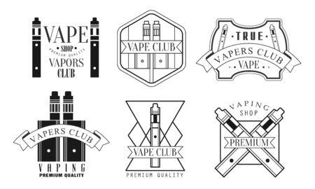 Set of icons for vape shop. Vector illustration.