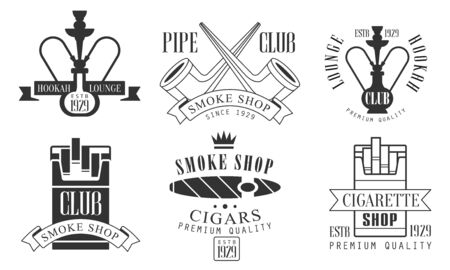 Set of icons for a smoking club. Vector illustration.  イラスト・ベクター素材
