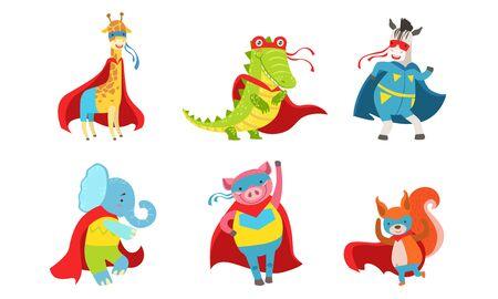 Cartoon animals in costumes of superheroes. Vector illustration. Illustration