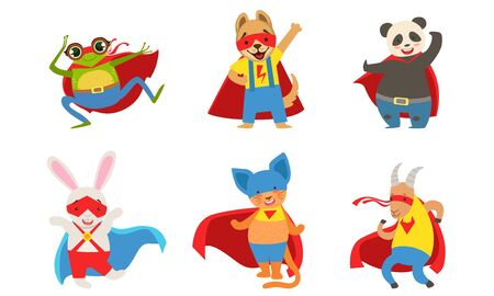 Funny animals in superhero costumes. Vector illustration.
