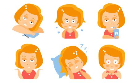 Cartoon red-haired girl is tired, in love, drinks, sleeps, surprised. Vector illustration.