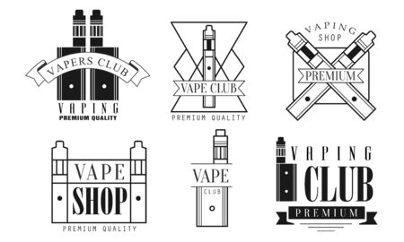 Set of icons for vape shop and electronic cigarettes. Vector illustration.