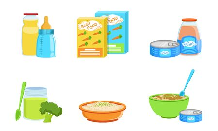 Set of various baby food. Vector illustration.