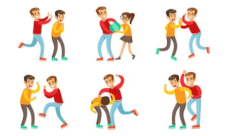 Teenage Boys Fighting and Quarreling Set, Aggressive Behavior at School, Aggressive Boy Bullying Weaker Classmate Vector Illustration