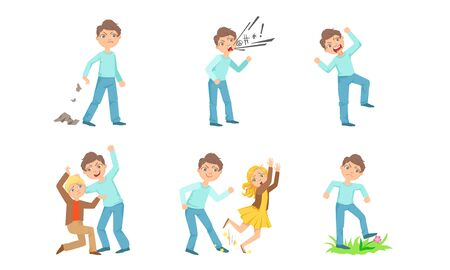Types of bullying one boy against another. Vector illustration. Illustration