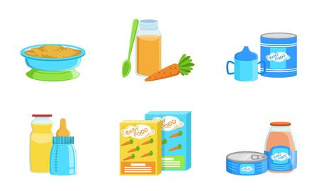 Set of products for baby food. Vector illustration. Stock Illustratie