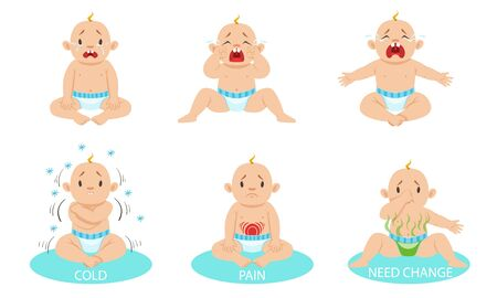 Little boy is crying from discomfort. Vector illustration. Banque d'images - 131186942