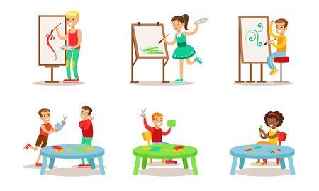 Schoolkinderen hobby's ingesteld, tieners jongens en meisjes schilderen, toepassing vectorillustratie maken