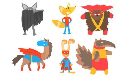 Animaux drôles dans des masques et des capes de super-héros. Illustration vectorielle.