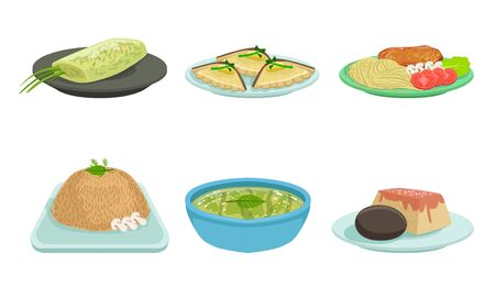 Set of freshly prepared food on plates. Vector illustration.