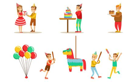 Kids Celebrating Birthday Set, Boy Going to Broke the Pinata, Children Having Fun at Birthday Party with Cake and Gifts Vector Illustration Иллюстрация