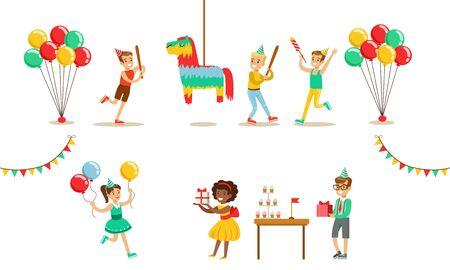 Kids Celebrating Birthday Set, Boy Going to Broke the Pinata, Boys nd Girls Having Fun at Birthday Party Vector Illustration 写真素材 - 131186872