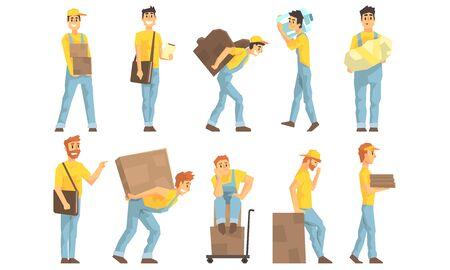 Corrieri in uniforme che consegnano pacchi e pacchi, società di traslochi e consegne, servizio di consegna di pacchi postali Vector Illustration
